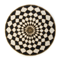 Mackenzie-Childs Kaleidoscope Placemat - Black & ivory