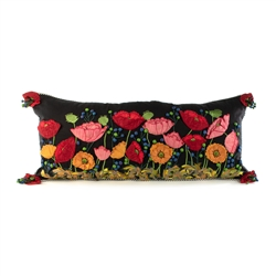 Mackenzie-Childs Poppy Lumbar Pillow - Black