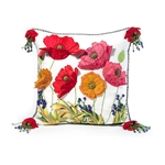 MacKenzie-Childs Red Poppy Square Pillow