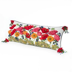 MacKenzie-Childs Red Poppy Lumbar Pillow