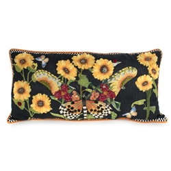 Mackenzie-Childs Monarch Butterfly Lumbar Pillow - Black