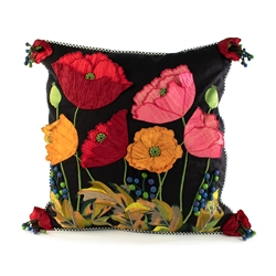 Mackenzie-Childs Poppy Square Pillow - Black