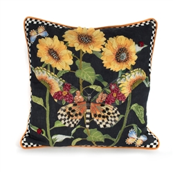Mackenzie-Childs Monarch Butterfly Square Pillow - Black