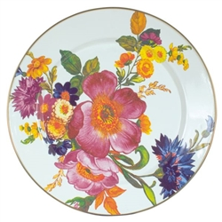 MacKenzie-Childs Flower Market Enamel Charger/Plate White