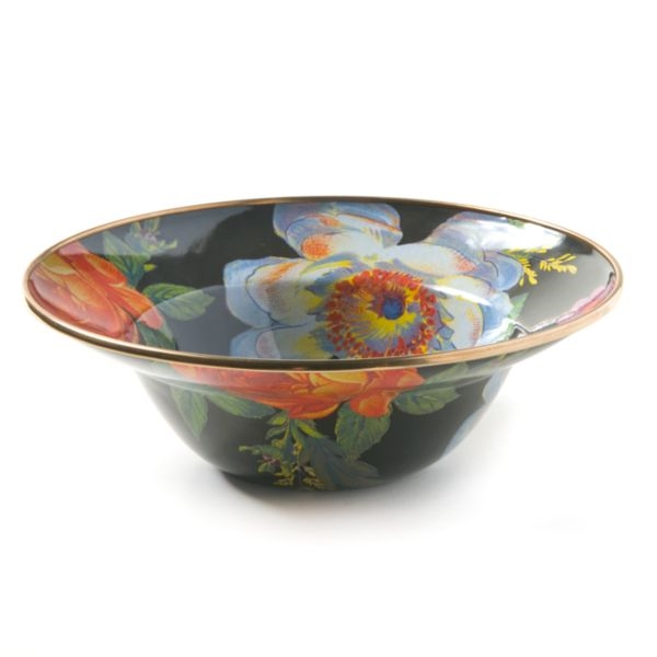 Mackenzie-Childs Flower Market Serving Bowl Black