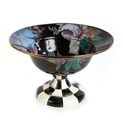 MacKenzie-Childs Flower Market Enamel Compote Large - Black