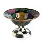 MacKenzie-Childs Flower Market Enamel Small Compote - Black