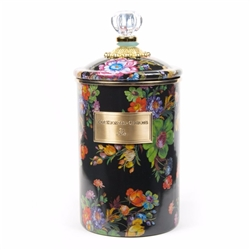 MacKenzie-Childs Flower Market Large Canister Black