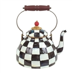 MacKenzie-Childs Enamelware Courtly Check Three Quart Tea Kettle