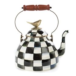Mackenzie-Childs Courtly Check Enamel 3 Qt.Tea Kettle with Bird