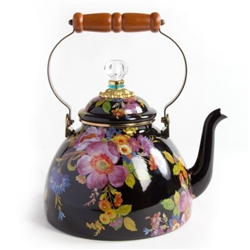 MacKenzie-Childs Flower Market Black 3 Quart Tea Kettle