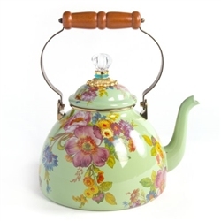 MacKenzie-Childs Flower Market Green 3 Quart Tea Kettle