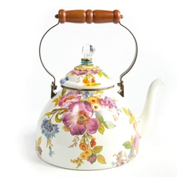 MacKenzie-Childs Flower Market White 3 Quart Tea Kettle
