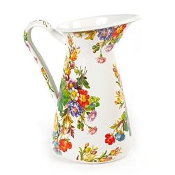 MacKenzie-Childs Flower Market Enamelware Practical Pitcher - White