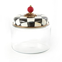MacKenzie-Childs Courtly Check Glass Kitchen Canister Medium