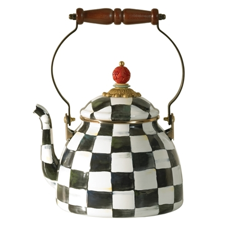 MacKenzie-Childs Enamelware Courtly Check Two Quart Tea Kettle