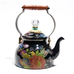 Mackenzie-Childs Flower Market 2 Qt Tea Kettle Black