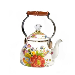 Mackenzie-Childs Flower Market 2 Qt Tea Kettle White