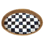 MacKenzie-Childs Enamelware Courtly Check Small Rattan Tray