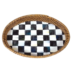 Mackenzie-Childs Enamelware Courtly Check Large Rattan Tray