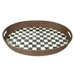 MacKenzie-Childs Enamelware Courtly Check Rattan Party Tray