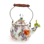 MacKenzie-Childs Flower Market Whistling Tea Kettle - White