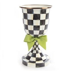 MacKenzie-Childs Courtly Check Enamel Pedestal Vase with Green Bow