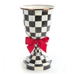 MacKenzie-Childs Courtly Check Enamel Pedestal Vase with Red Bow