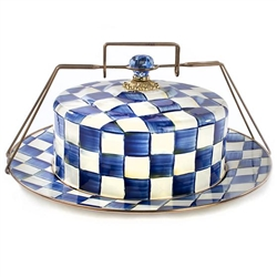 MacKenzie-Childs Enamelware Royal Check Cake Carrier