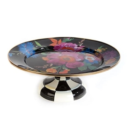 MacKenzie-Childs Flower Market Small Pedestal Platter Black
