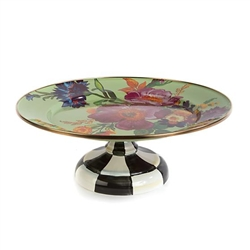 MacKenzie-Childs Flower Market Small Pedestal Platter Green