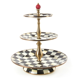 MacKenzie-Childs Courtly Check Enamel Three Tier Sweet Stand