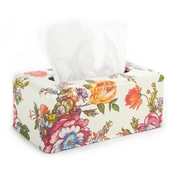 MacKenzie-Childs White Flower Market Long Tissue Box Cover