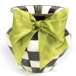 MacKenzie-Childs Courtly Check Vase Green Bow Large