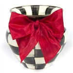 MacKenzie-Childs Courtly Check Vase Red Bow Large