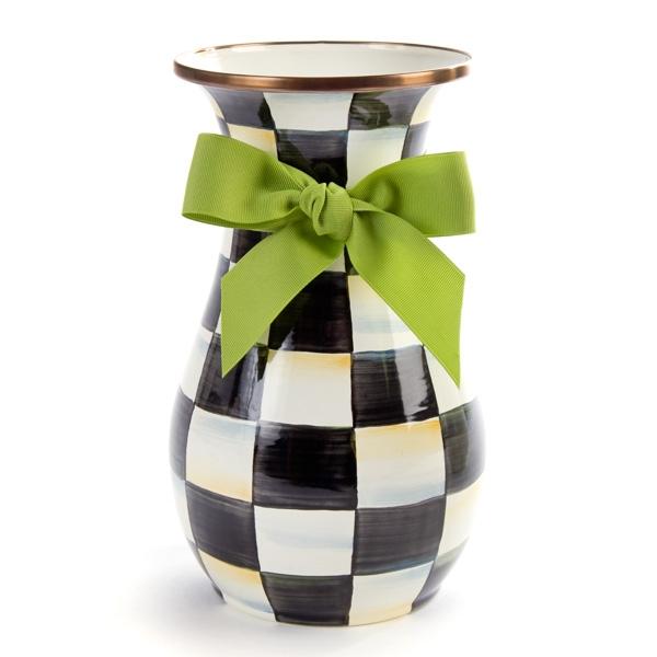 Mackenzie Childs Courtly Check Tall Enamel Vase Online