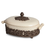 The GG Collection Ceramic Covered Casserole, Metal Trivet Base