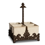 The GG Collection Ceramic and Metal Flatware Caddy