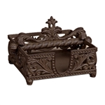 The GG Collection 7in Square Napkin Holder Brown Metal