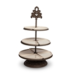 The GG Collection 3 Tiered Server, Cream, Baroque