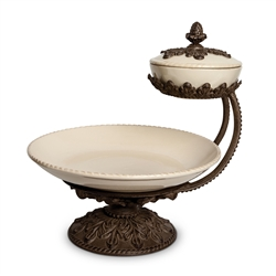 The GG Collection Chip and Dip Server w/ Lid Cream, Baroque
