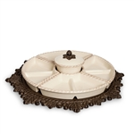 The GG Collection Lazy Susan Crudite, Cream
