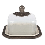 "The GG Collection 17"" Acanthus Pastry Keeper w-Glass Dome"