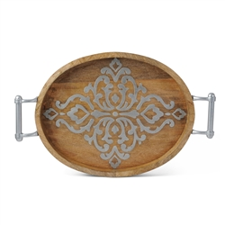 The GG Collection Wood-Metal Oval Tray
