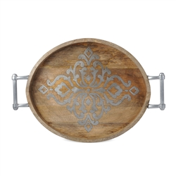 "The GG Collection 25.5""L Wood/Metal Oval Tray"