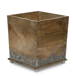 The GG Collection Wood and Metal Wastebasket
