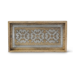 The GG Collection Wood and Metal Bath Tray