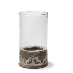 "The GG Collection 12.5""H Wood Metal Candleholder"