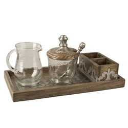 The GG Collection Wood/Metal Cream And Sugar Set