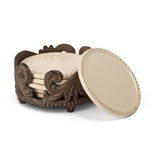 The GG Collection 6Pc Ceramic Coaster in  Holder